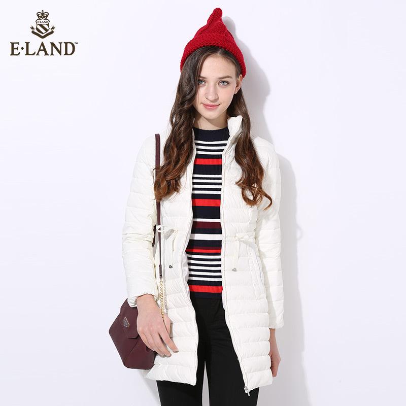ELAND冬季新品立领轻薄中长羽绒服女EEJD64T01R专柜正品