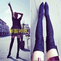 秋冬靴时尚尖头粗跟长筒靴高跟过膝长靴女瘦腿弹力靴高筒靴sw5050