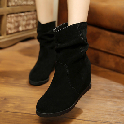 Magic water fall and winter in the new matte leather boots increased dermal turn black fur boots warm slope with a short female
