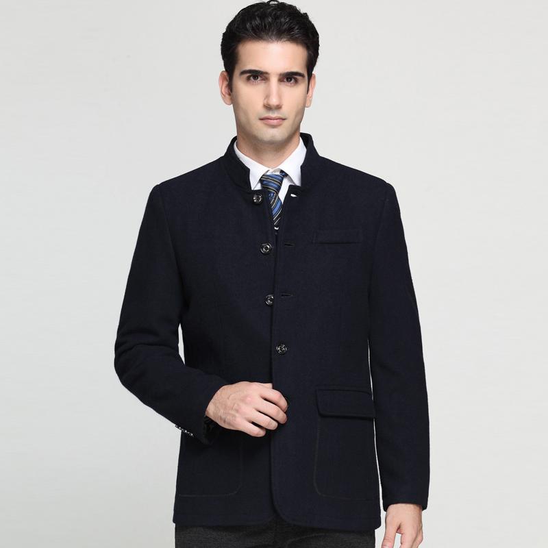 2014秋冬新款鄂尔多斯正品男装夹克立领中老年休闲羊绒外套单排扣