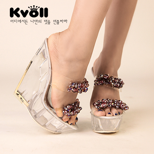 Kvoll new diamond beaded transparent resin decorative golden transparent bottom slope with high with sandals and slippers