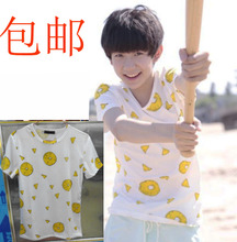 Tfboys hanah idol's note with spring, summer, boys and girls students with pineapple printing short sleeve T-shirt who clothes