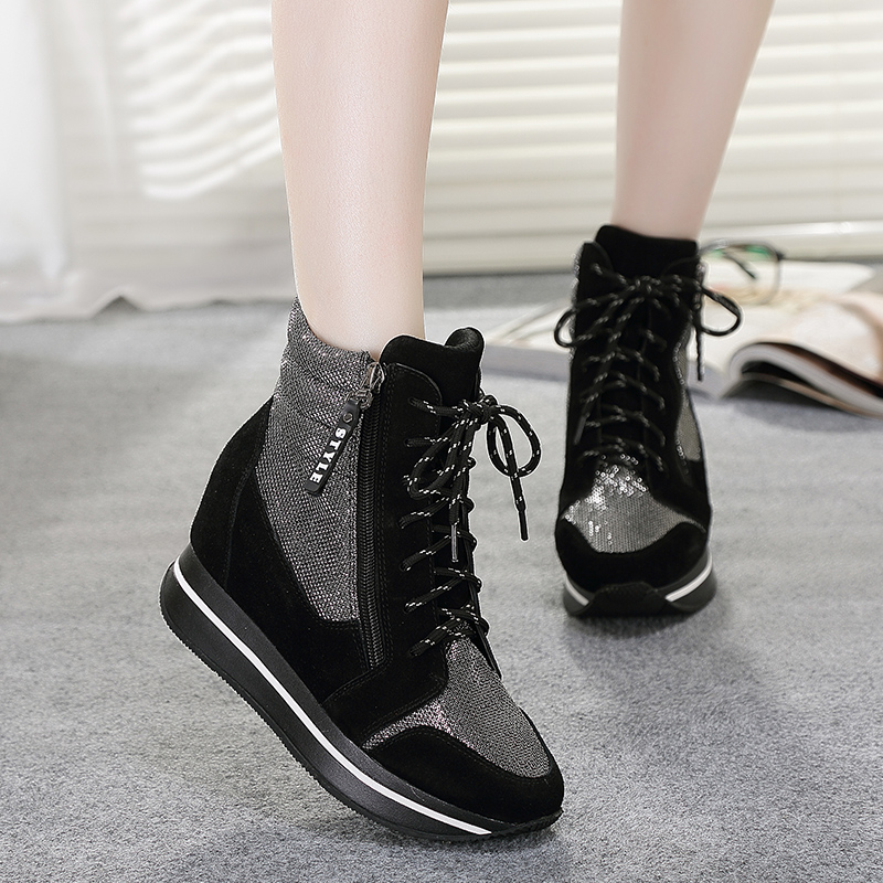 New winter leather high-top shoes women fashion casual muffin laced with the increased matte waterproof shoes