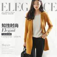 秋冬新款女式大衣中长款羊绒开衫大衣修身羊毛毛呢韩版针织外套厚