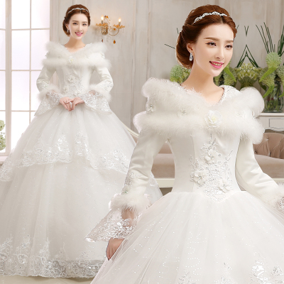 The new 2014 winter wedding dress bridal gown, wedding Qi thick long-sleeved cotton plus word shoulder wedding