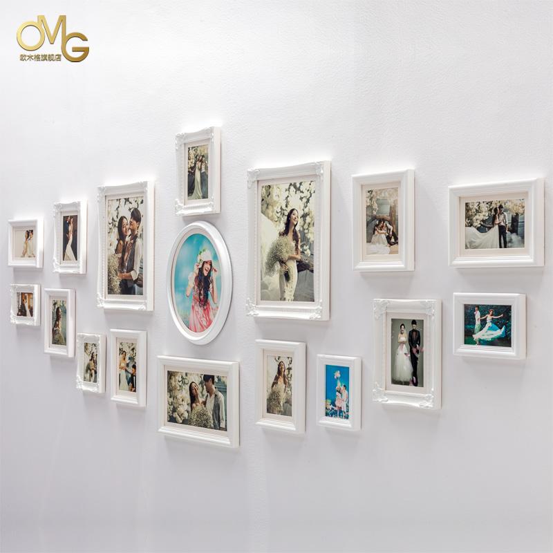 欧木格 实木照片墙 欧式相片墙 客厅婚纱照白色照片墙 相框墙图片