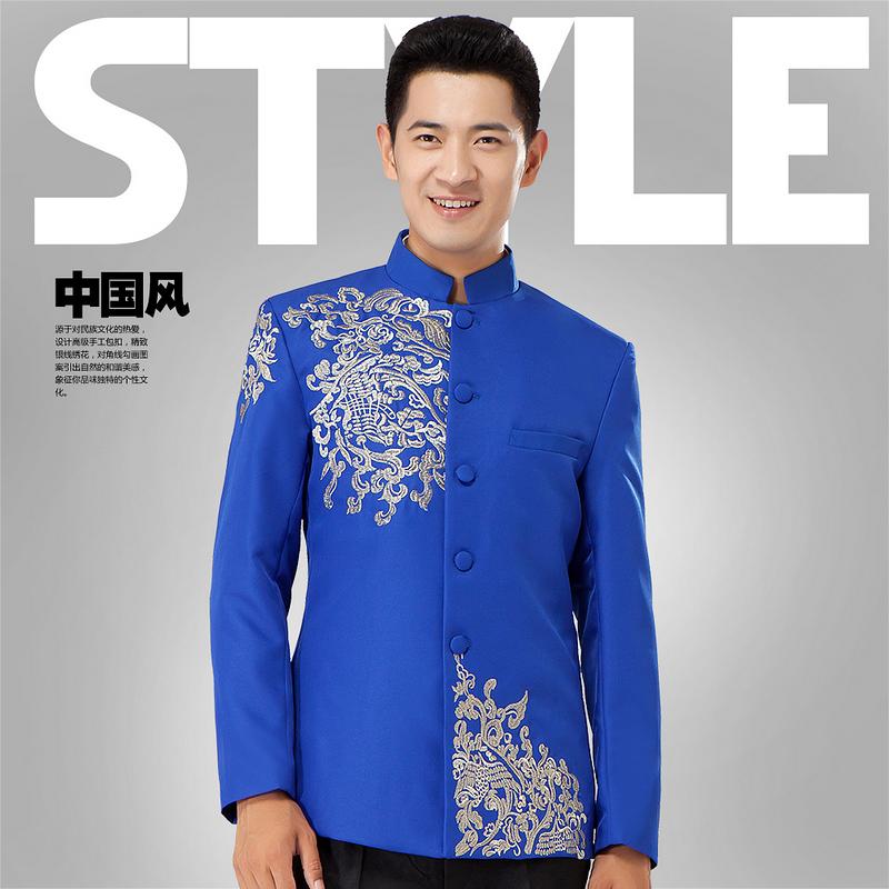 男士男装青年装绣花立领演出服中式结婚礼服套装主持人服装中山装
