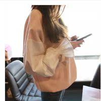 春秋长袖喇叭袖粉色套头bf休闲外套 原宿风宽松卫衣女韩版潮学生