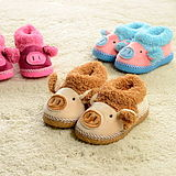 Cute baby pig high-top shoes children shoes and bags with warm home cotton slippers warm shoes indoor paternity