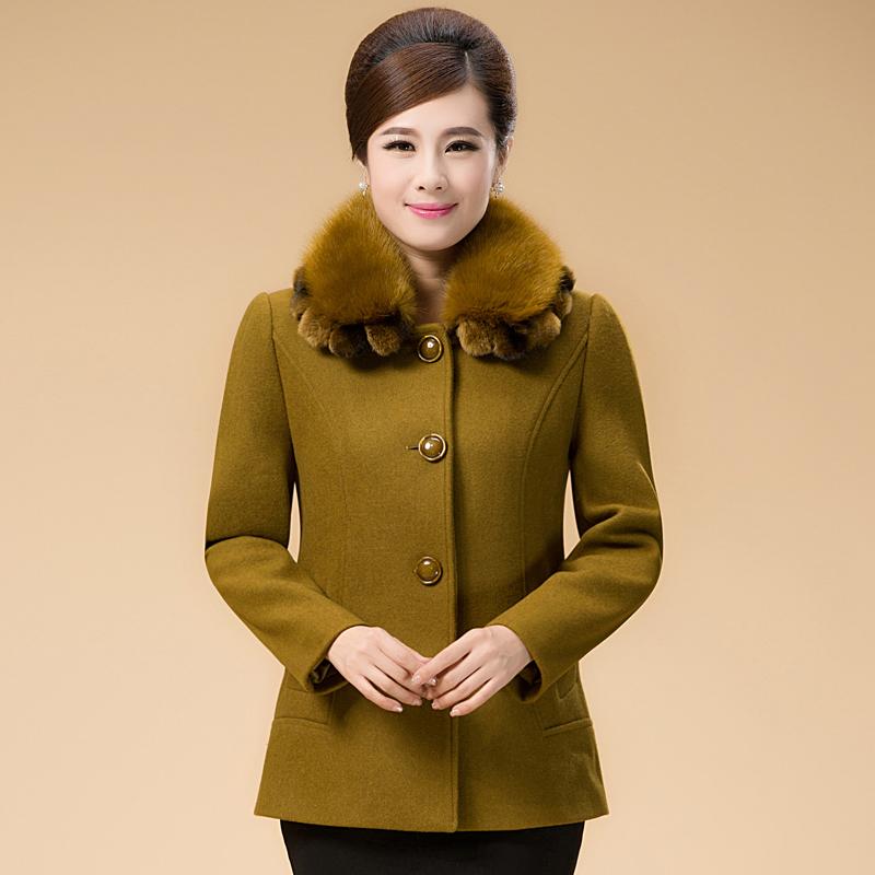 今年新款羊绒大衣_2015春秋新款韩版中老年羊毛呢外套上衣短款妈妈装女呢子羊绒大衣