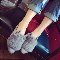 2016新款百搭韩版平底学生甜美毛毛鞋时尚女士尖头单鞋女秋鞋子