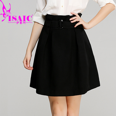 Yisai Ke 2014 autumn and winter long section woolen skirts Girls skirts high waist pleated skirt umbrella small A word skirt