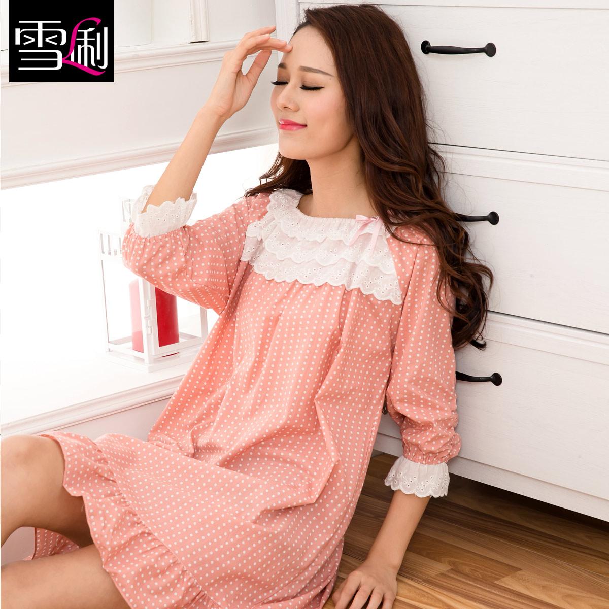 雪俐韩版新品夏季中袖睡裙梭织100%纯棉女士纯色简约睡衣家居服