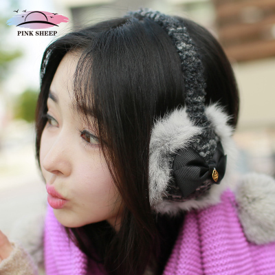 Japan really cute pink sheep rabbit fur earmuffs earmuffs lady really warm winter Korean bow