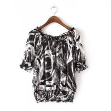 The new foreign trade women's summer 2015 han edition of fashion emulation silk printed word brought D411 elastic waist short sleeve shirt