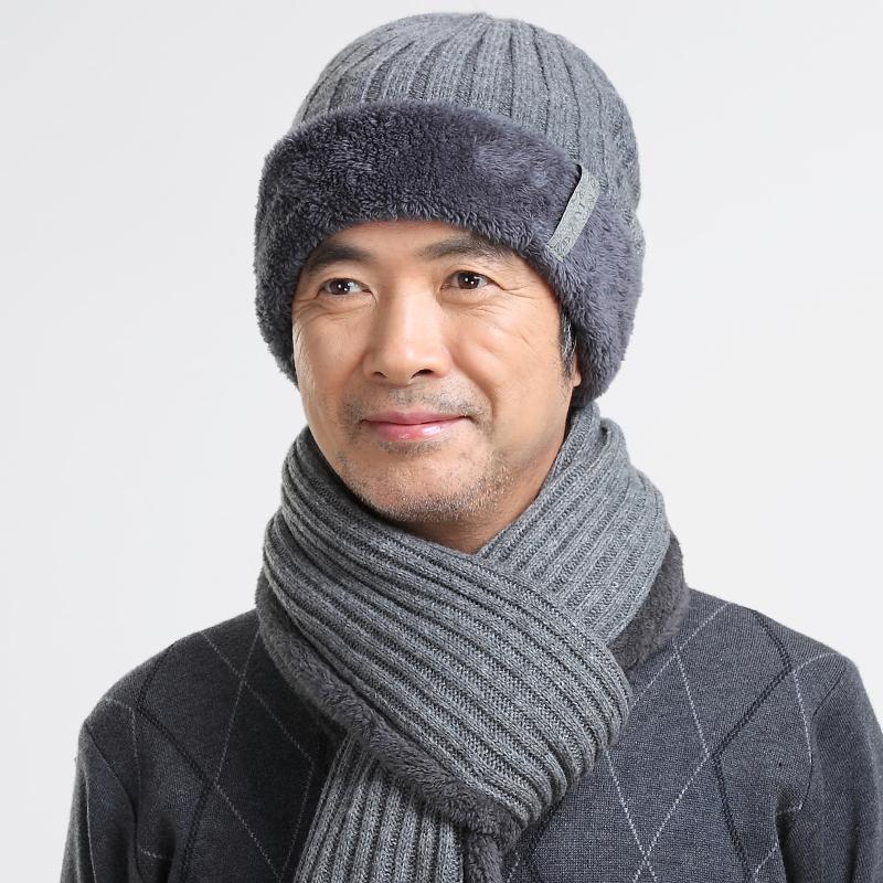 帽中老年男士爸爸帽围巾老人帽子男冬天毛线帽图片