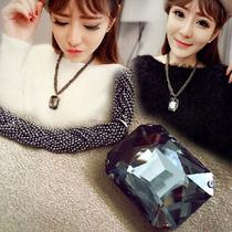韩国韩版时尚简约复古新款宝石链条项链方块水晶短款百搭锁骨链
