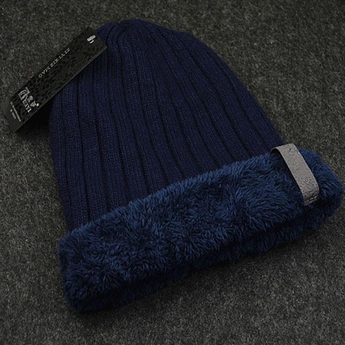 加绒加厚毛线帽针织帽男士套头帽冬帽保暖帽韩版羊毛线帽子男冬天