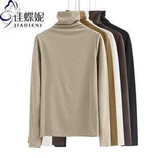秋冬高领长袖纯棉纯色一体领T恤打底衫女百搭堆堆领体恤