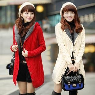 秋冬通勤淑女毛衣女中长款加绒加厚连帽开衫外套