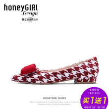 honeyGIRL2018春季女鞋甜美蝴蝶结平跟鞋低跟单鞋尖头鞋平底