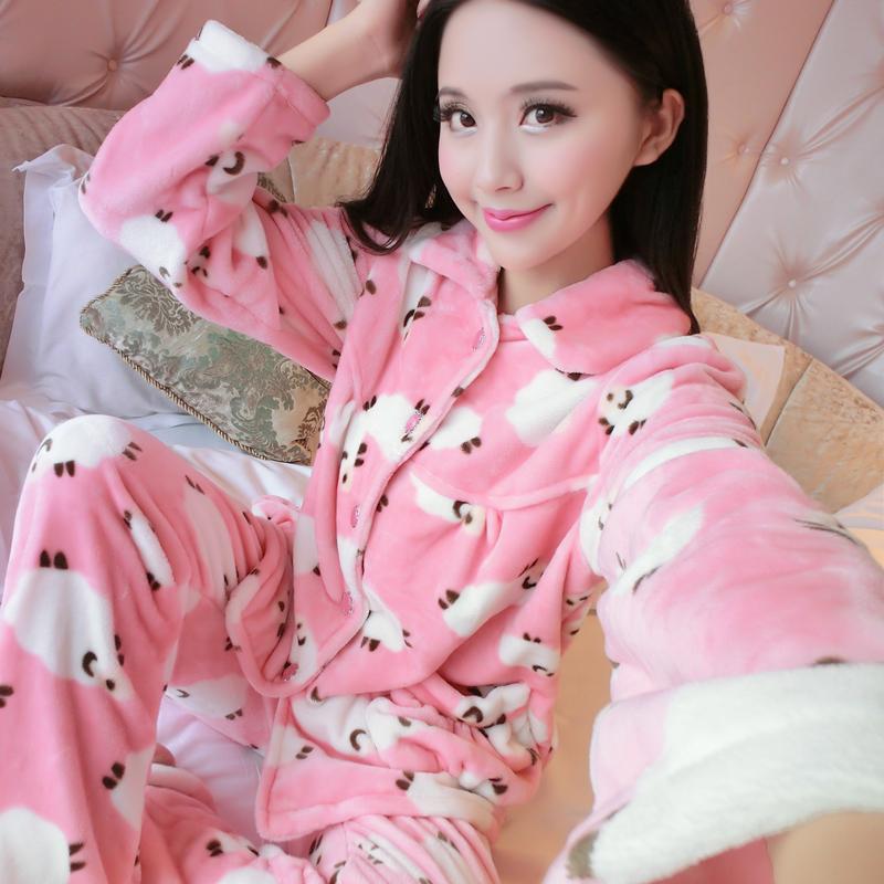 睡衣女秋季套装珊瑚绒冬季加厚法兰绒冬天女冬