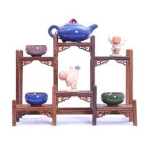 鸡翅木雕博古架实木中式多宝格茶壶底座工艺品茶具托架红木小摆件