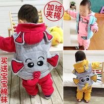 童装 冬装新款 男女童宝宝套装1-2-3岁婴幼儿加厚加绒卫衣三件套