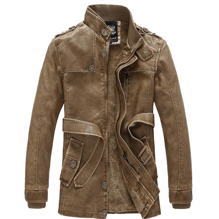 秋冬新款加绒皮衣男中长款韩版修身男机车水洗PU皮夹克外套男风衣