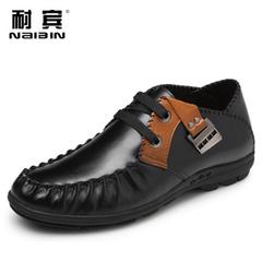 森足秋季男士皮鞋真皮头层牛皮时尚潮流鞋子男透气系带