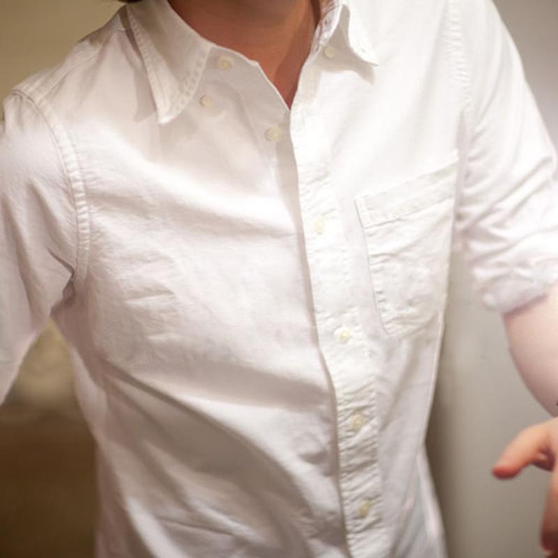 秋冬纯棉牛津纺白衬衫男士长袖修身商务加绒保暖加厚打底休闲衬衣