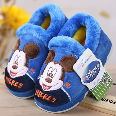 Disney Children's cotton slippers genuine special thick non-slip soft-soled baby boys and girls home home Mickey padded