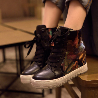 BEAU leather casual shoes increased within the female fans 8cm high shoes lace thick crust slope with high-heeled autumn and winter sports