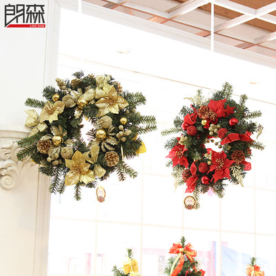 Lang Sen-sided three-dimensional red Christmas wreath Christmas wreath Christmas ornaments Christmas ornaments