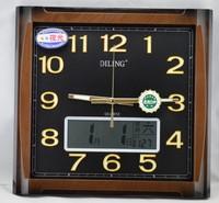 迪翎18寸表挂钟静音夜光扫描LCD万年历显示现代欧式客厅卧室钟表