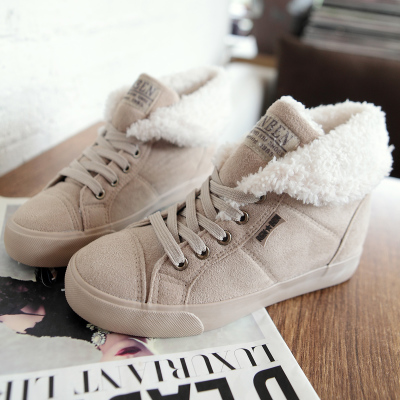 People winter influx of Korean women shoes thick plush suede shoes increased female students inside warm cotton-padded canvas shoes