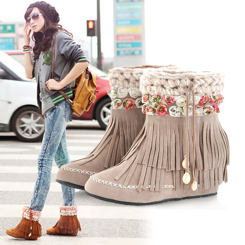 14 higher in autumn and winter boots fringed boots in the Korean version of sweet hair with warm shoes boots plus new women's boots inside