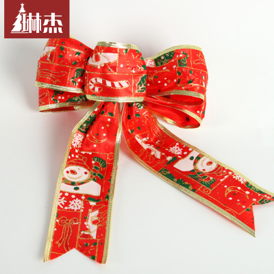 Lin Jie painted red bow Christmas ornament wreath ornament a rattan bag a
