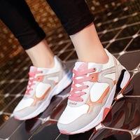 2015新款时尚运动女鞋韩版增高休闲女单鞋拼色透气女鞋批