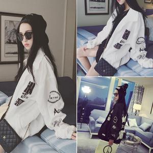 2015秋装新款宽松显瘦图案印花长袖风衣外套女学生韩版百搭上衣潮