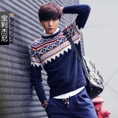 Winter boys round neck sweater hedging male adolescent men sweater sweater male Korean retro stitching tide