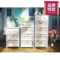 包邮韩式床头柜田园家具柜子实木收纳柜 藤编 储物抽屉 收纳柜X10