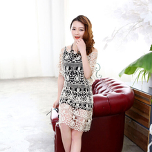 The new spring/summer 2015 women's European fashionable sexy hook flower bud silk dresses leisure cultivate one's morality shirt skirt