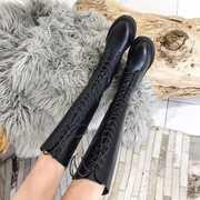18秋冬绑带少女式洋气皮靴圆头中跟骑士靴黑色百搭长靴子