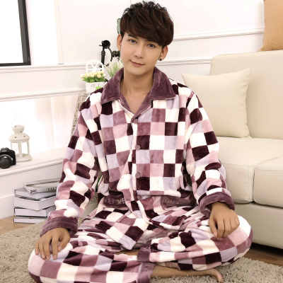 Male long-sleeved thick coral velvet pajamas autumn and winter mink cashmere flannel tracksuit suit XL winter