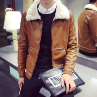 秋季男款羊羔毛皮衣男士韩版翻毛领外套修身大码PU皮衣夹克潮男装