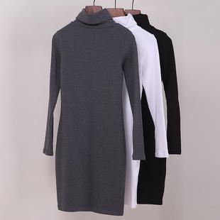 中长款纯棉翻高领包臀长袖打底小衫女T恤堆堆保暖加厚磨毛连衣裙