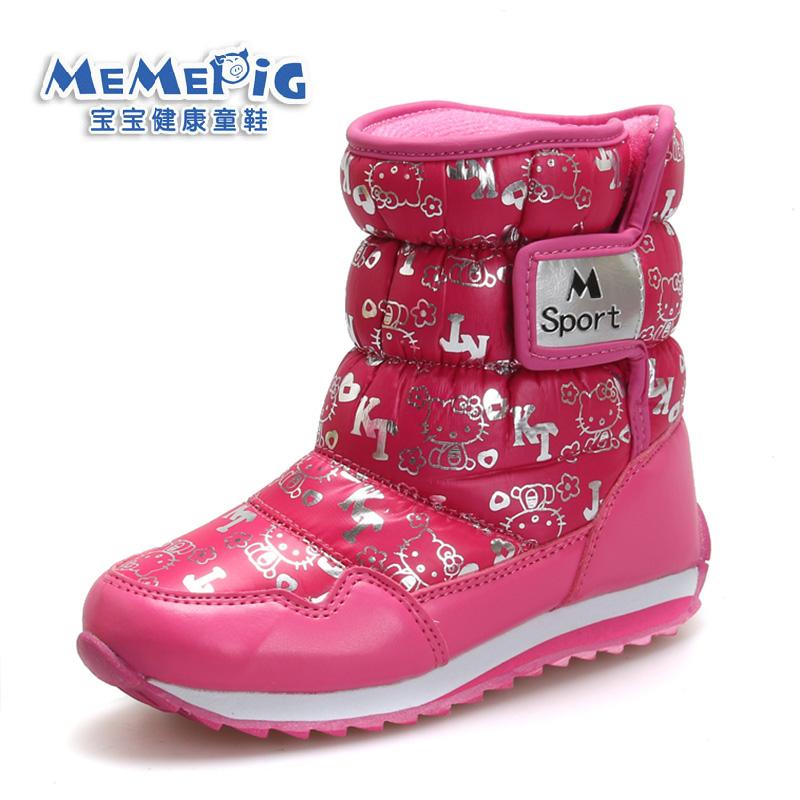 加绒新款儿童雪地靴女童防水防滑保暖靴男中童毛绒中筒亲子棉靴子