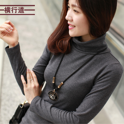 Road rampage spring 2014 women's large size Korean version of cotton thick high-collar shirt primer shirt female long-sleeved t-shirt autumn and winter