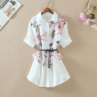 夏季短袖刺绣印花女士衬衫复古女上衣雪纺衫外搭宽松女装